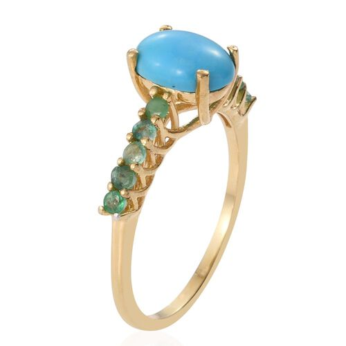 Arizona Sleeping Beauty Turquoise (Ovl 1.15 Ct), Brazilian Emerald Ring in 14K Gold Overlay Sterling Silver 1.500 Ct.
