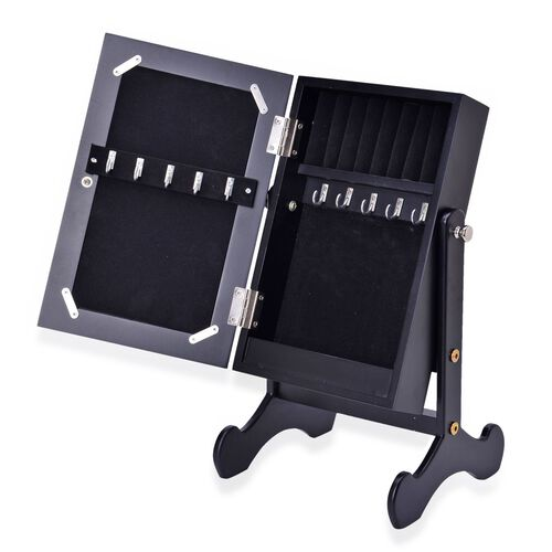 Black Colour MDF Standing Jewellery Cabinet with Mirror (Size 40X20X6 Cm)