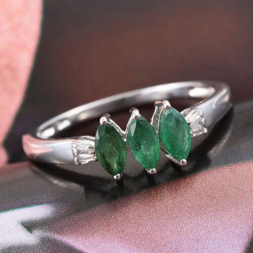 Brazilian Emerald (Mrq), Diamond Ring in Platinum Overlay Sterling Silver 0.750 Ct.