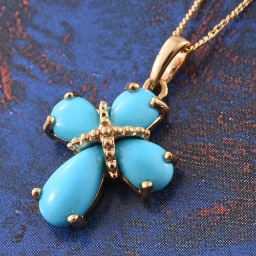 Arizona Sleeping Beauty Turquoise (Pear) Cross Pendant with Chain in 14K Gold Overlay Sterling Silver 2.500 Ct.