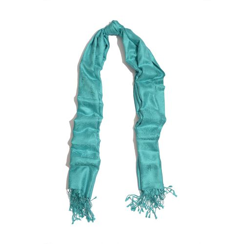 100% Superfine Silk Paisley Pattern Turquoise Colour Jacquard Jamawar Scarf with Fringes (Size 180x70 Cm) (Weight 125-140 Grams)