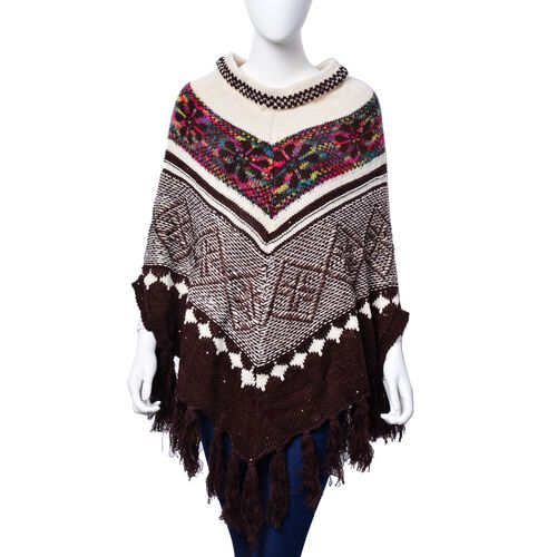 Limited Available - Chocolate, White and Multi Colour Floral Pattern Poncho with Squins and Tassels (Size 85x70 Cm)