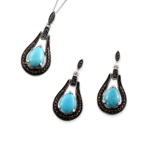 Arizona Sleeping Beauty Turquoise (Pear), Black Diamond Earrings and Pendant With Chain in Platinum Overlay Sterling Silver 3.020 Ct.