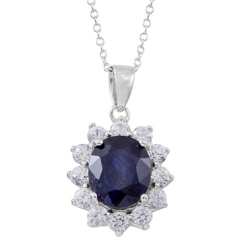 Madagascar Blue Sapphire (Ovl 5.00 Ct), Natural White Cambodian Zircon Pendant with Chain in Rhodium Plated Sterling Silver 6.750 Ct.