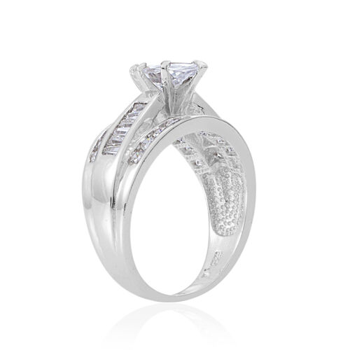 ELANZA Simulated Diamond (Mrq) Ring in Rhodium Plated Sterling Silver