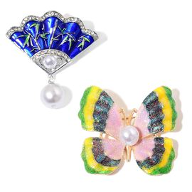 Set of 2 - AAA White and Black Austrian Crystal, Simulated White Pearl Enameled Chinese Folding Fan and Butterfly Brooch in Silver and Yellow Gold Tone