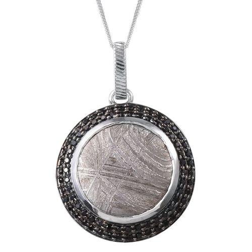 Meteorite (Rnd 19.50 Ct), Boi Ploi Black Spinel Pendant With Chain in Platinum Overlay Sterling Silver 20.250 Ct.