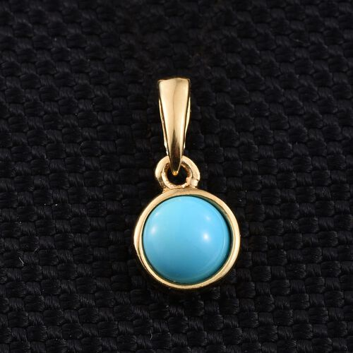 Arizona Sleeping Beauty Turquoise (Rnd) Solitaire Pendant in 14K Gold Overlay Sterling Silver 0.750 Ct.