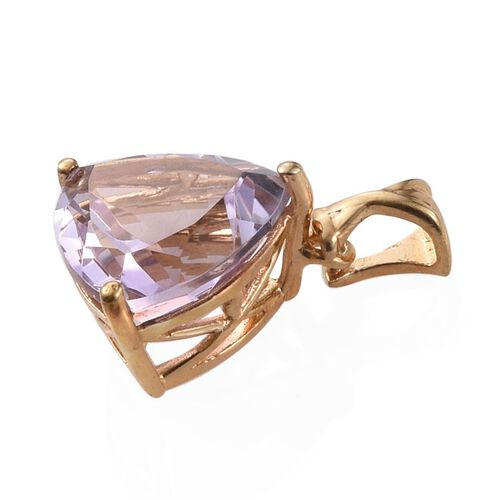 Rose De France Amethyst (Trl) Solitaire Pendant in 14K Gold Overlay Sterling Silver 4.250 Ct.