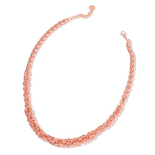 Limited Available- Graduated Byzantine and Spiga Necklace (Size 20 with 2 inch Extender) in Rose Gold Stainless Steel