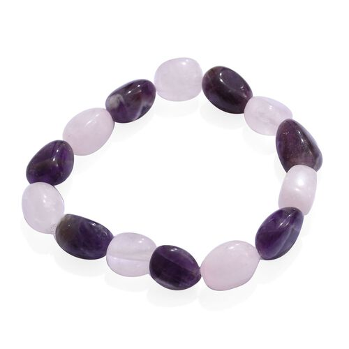 Rose Quartz and Amethyst Stretchable Bracelet (Size 7) 112.800 Ct.