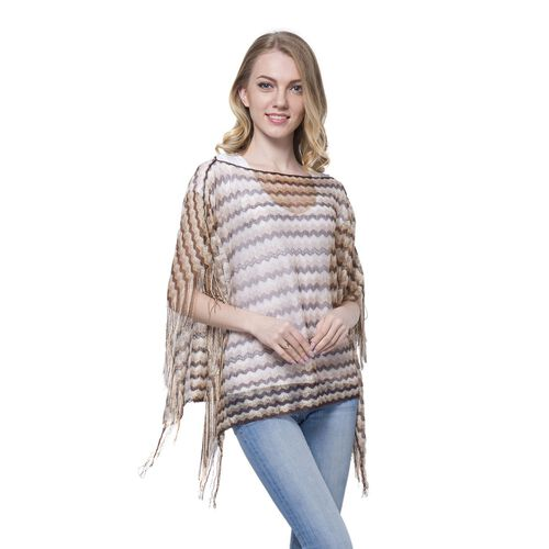 Golden, Yellow, Grey and Black Colour Stripe Pattern Poncho (Size 90x55 Cm) and White Colour Vest (Size 60x55 Cm)
