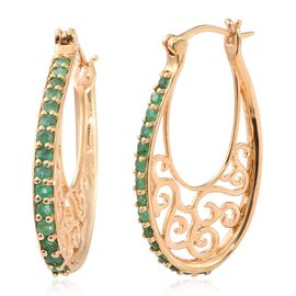 Kagem Zambian Emerald (Rnd) Hoop Earrings (with Clasp) in 14K Gold Overlay Sterling Silver 1.250 Ct.