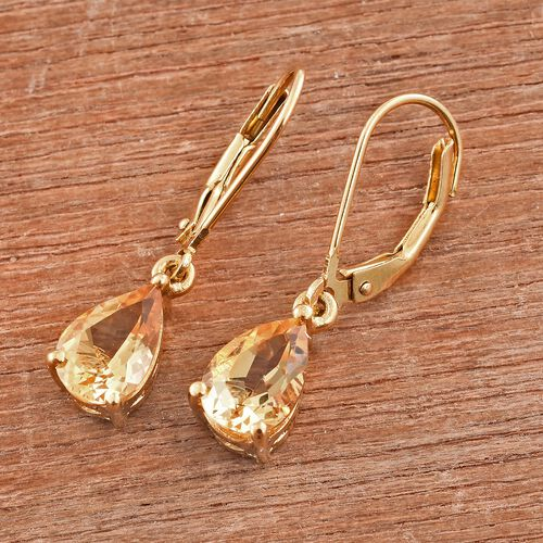 Citrine (Pear) Lever Back Earrings in 14K Gold Overlay Sterling Silver 2.250 Ct.