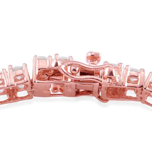 J Francis - Rose Gold Overlay Sterling Silver (Rnd) Bracelet (Size 8) Made with SWAROVSKI ZIRCONIA