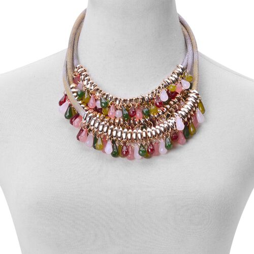 Simulated Multi Colour Stone 3 Row Necklace (Size 18) in Gold Tone