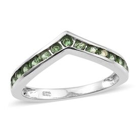 Tsavorite Garnet (Rnd) Wishbone Ring in Platinum Overlay Sterling Silver 0.750 Ct.