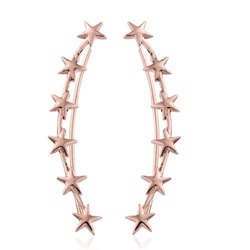 Silver Little Star Ear Climber Earrings in Rose Gold Overlay