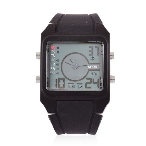STRADA Chinese Movement LED Display Analog - Digital Watch in Silver Tone with Black Colour Silicone Strap