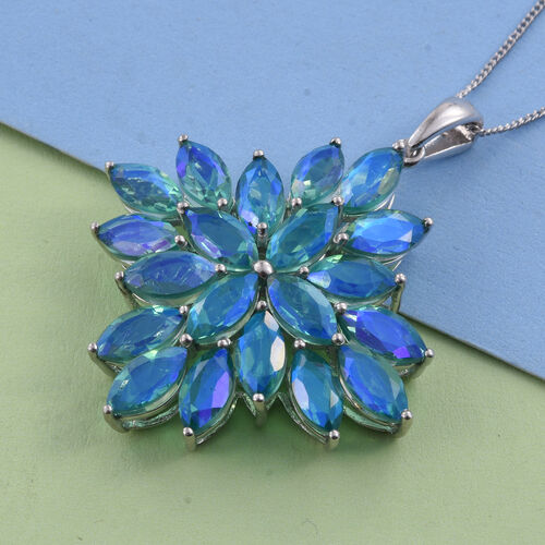 Peacock Quartz (Mrq) Pendant With Chain in Platinum Overlay Sterling Silver 15.000 Ct.
