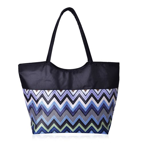 Black, Blue and Multi Colour Zigzag Pattern Tote Bag (Size 52X38X32X15.5 Cm)