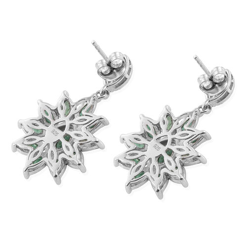 Kagem Zambian Emerald (Mrq) Earrings (with Push Back) in Platinum Overlay Sterling Silver 2.000 Ct.
