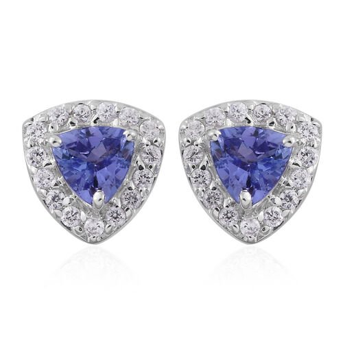 9K White Gold 1.13 Carat AA Tanzanite, Natural Cambodian Zircon Stud Earrings (with Push Back)