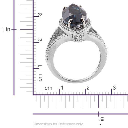 Indicolite Quartz (Mrq) Solitaire Ring in Platinum Overlay Sterling Silver 7.750 Ct.