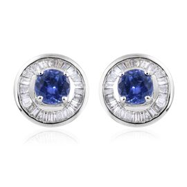 ILIANA 18K White Gold 1.40 Ct AAA Tanzanite Halo Stud Earrings with Diamond (SI/G-H) (with Screw Back)