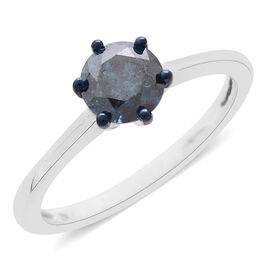 Collectors Edition -  9K W Gold SGL Certified Rare Size Blue Diamond (Rnd) (I3) Solitaire Ring 1.000 Ct.
