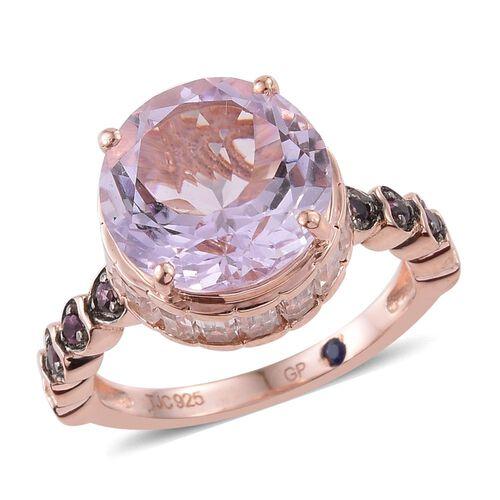 GP Rose De France Amethyst (Rnd 5.75 Ct), Rhodolite Garnet, White Topaz and Kanchanaburi Blue Sapphire Ring in Rose Gold Overlay Sterling Silver 8.750 Ct.