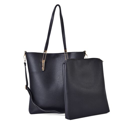 Set of 2 - Black Colour Large Handbag with Adjustable and Removable Shoulder Strap (Size 35x33x8 Cm) and Small Handbag (Size 31x27x4 Cm)