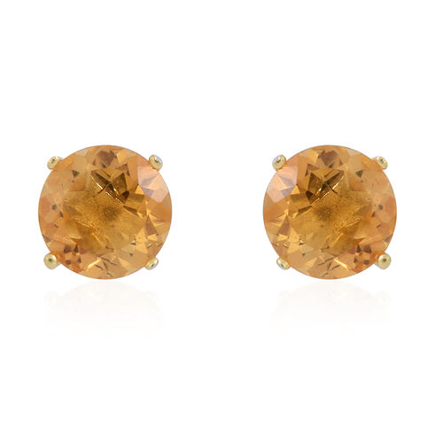 Citrine (Rnd) Stud Earrings (with Push Back) in Yellow Gold Overlay Sterling Silver 2.500 Ct.