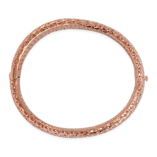 RACHEL GALLEY Rose Gold Overlay Sterling Silver Allegro Wave Bangle (Size 7.25), Silver wt 28.48 Gms.