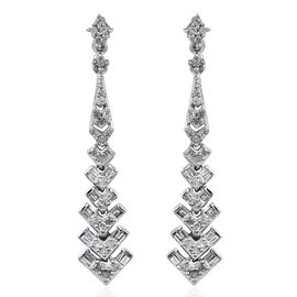 Designer Inspired- Diamond (Rnd) Dangling Earrings (with Push Back) in Platinum Overlay Sterling Silver 0.500 Ct.
