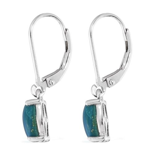 Natural Rare Opalina (Cush) Lever Back Earrings in Platinum Overlay Sterling Silver 2.500 Ct.