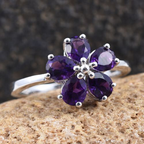 Natural Uruguay Amethyst (Pear) 5 Stone Floral Ring in Platinum Overlay Sterling Silver 1.500 Ct.
