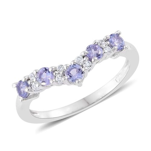 Tanzanite, Natural Cambodian Zircon 1.05 Ct Stacking Wishbone Ring in Platinum Overlay Sterling Silver