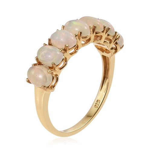 Ethiopian Welo Opal (Ovl) 7 Stone Ring in 14K Gold Overlay Sterling Silver 2.000 Ct.