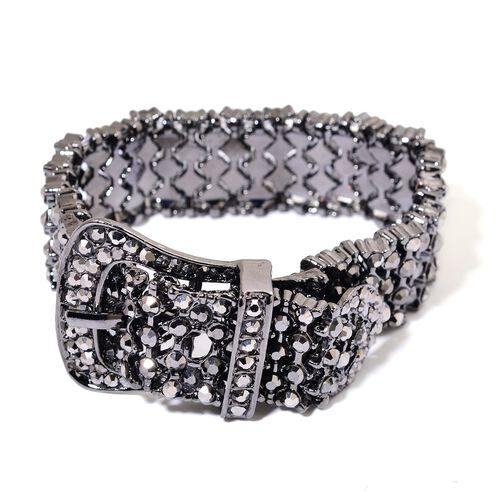 AAA Black Austrian Crystal Adjustable Buckle Bracelet and Earrings in Black Rhodium Tone