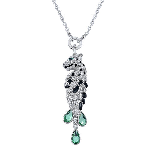 Green Glass and White Austrian Crystal Enameled Leopard Shape Necklace (Size 30) in Silver Tone