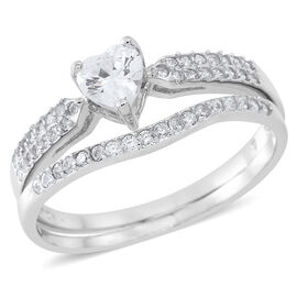 ELANZA AAA Simulated White Diamond (Hrt) 2 Ring Set in Rhodium Plated Sterling Silver