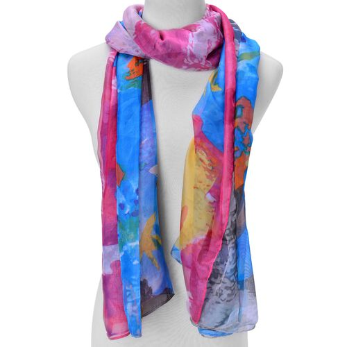 Pink, Blue and Multi Colour Printed Scarf (Size 190x135 Cm)