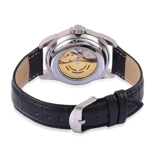 GENOA Automatic Skeleton White and Pink Austrian Crystal Studded Black and Golden Colour Dial Water Resistant Watch in Yellow Gold Tone With Black Leather Strap