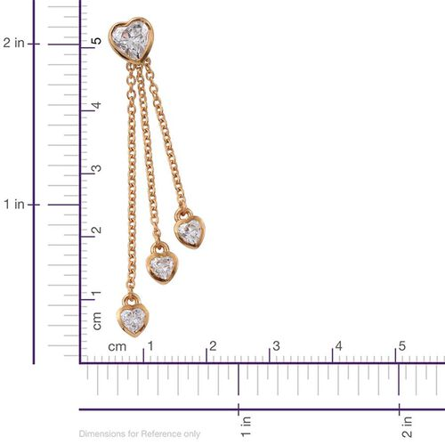 J Francis - 14K Gold Overlay Sterling Silver (Hrt) Earrings (with Push Back) Made with SWAROVSKI ZIRCONIA