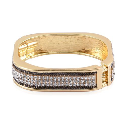 AAA White Austrian Crystal Bangle (Size 7.5) in Gold Tone