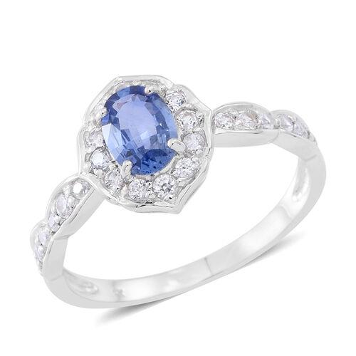 9K W Gold AA Ceylon Sapphire (Ovl), Natural Cambodian White Zircon Ring 1.750 Ct.