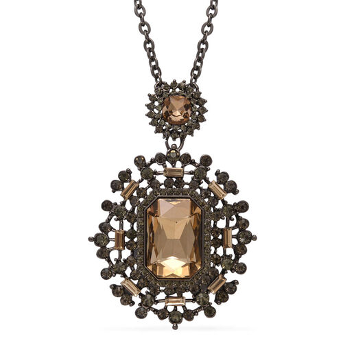 Brown Glass, Natural Crystal Quartz and Grey Austrian Crystal Necklace (Size 30) in Black Tone
