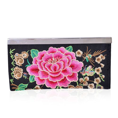 Shanghai Collection Luxury Fuchsia Peony Ladies Wallet (Size 19x9.8x1.5 Cm)