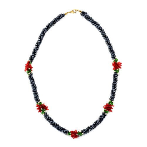 Hematite, Simulated Emerald and Dyed Coral Necklace (Size 20) in Gold Tone and Stainless Steel